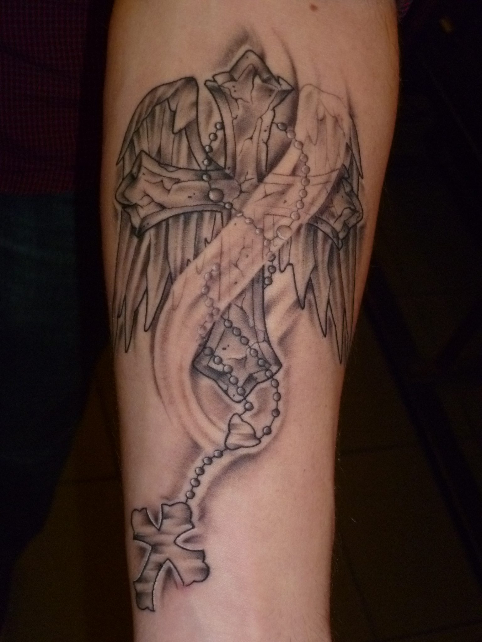 Cross with Wings and Rosary Tattoos
